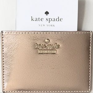 Kate ♠️ rose gold leather card case wallet